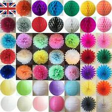 24 MIXED PAPER DECORATIONS HONEYCOMB BALLS FANS POMPOMS LANTERNS PARTY