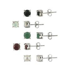 925 Silver 5mm Round Ruby, Sapphire, Emerald, Opal and Pearl Stud Earrings Set