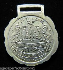 Antique W&A Issac Hatters & Furnishers Bowery State of NY Souvenir Fob Medallion
