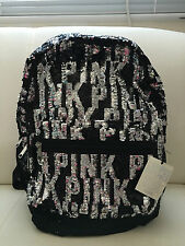Victoria's Secret Backpack PINK Full Sequins Bling Black Silver Campus Bag RARE