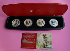 2016 -P AUSTRALIA SERIES II LUNAR MONKEY SILVER  PROOF 4 COIN TYPE SET COA AND B