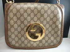 Auth Rare Vintage Gucci Blondie GG Monogram, Brown Leather & Canvas Shoulder Bag