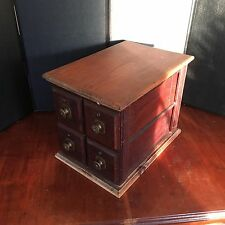 Vintage Antique Singer Sewing Machine Oak wood Cabinet 4 Drawers Brass Hardware