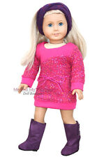 "PINK KNIT SWEATER DRESS + HB + BOOTS clothes for 18"" American Girl Doll Only"
