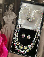 Vintage 50s Double Strand Austrian AB Crystal Necklace Earrings Set Bridal GIFT