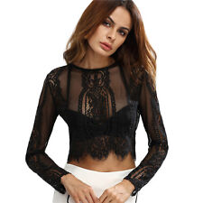 UK Ladies Slim Lace Flore Shirt Crop Tops Long Sleeve Sexy Blouse Size 6-14