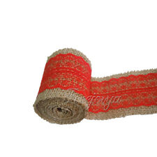 Red 6cm x 2m Natural Hessian&Lace Burlap Ribbon Rusitc Wedding Wrapping