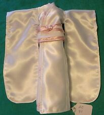 White Satin Kimono w Pink & White Obi, White & Pink Floral Trim for Barbie HC81