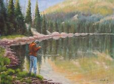 Montana Beartooth Mountains Russell Lake Trout Fly Fishing Landscape oil Haigh