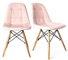 Charles Jacobs DINING/OFFICE RETRO Style CHAIR x2 (PAIR) Wooden Legs in Pink