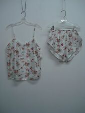 USA Made Nancy King Lingerie Camisole w/ Tap Pant Size Small White Floral #348C