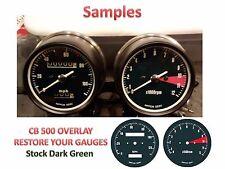 Honda CB500 Overlay Cafe Racer Gauge Face Decal Applique MPH Green Dial Clock 73