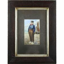 Signed Framed Original Antique Whitby Fisherboy Watercolour Painting circa 1900