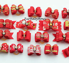10 Dif Red Color YORKIE Dog PET Puppy stiffenned Bows Shih-tzu, Maltese Poodle