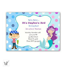 30 Invitations Pirate Mermaid Under The Sea Kids Birthday Party Personalized