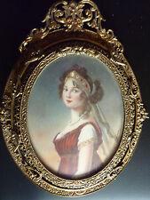 Miniatura reina Luise V. de Prusia bronce marco Miniature Portrait ormolu Frame
