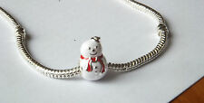"WHITE 'HAPPY PUPAZZO DI NEVE ""Silver Charm Bead. filettatura Regalo Perfetto"