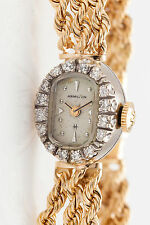 Vintage 1960s $5000 Hamilton 14k Gold ROPE CHAIN Ladies Diamond Watch HEAVY 25g