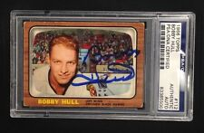 BOBBY HULL SIGNED 1966 TOPPS BLACKHAWKS CARD #112 PSA/DNA AUTHENTICATED