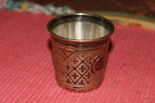 Antique Poland Fraget Warszawie Religious Drinking Cup-Silver Metal W/Crosses