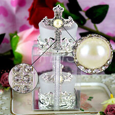 Diamante Pearl Cross Candle Holder Tealight Christening Communion Bomboniere