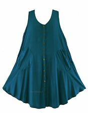 Teal blue Women Lagenlook Plus Size Sleeveless Vest Tunic Top 0X 1X 16 18
