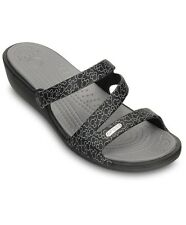 CROCS PATRICIA DISNEY MICKEY BLACK/SILVER WEDGE SANDAL SZ 6 RELAXED NEW w/ TAGS