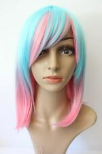 NEW Women's Ombre Bright Wig Anime Halloween Cosplay Costume Pink Blue Party