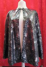 Black Cape With Silver Spider Webs Halloween Witch Ladies Vampire
