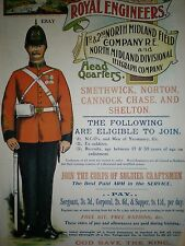 WW1 POSTER NORTH MIDLAND ROYAL ENGINEERS BRITISH ARMY NEW A4 PRINT