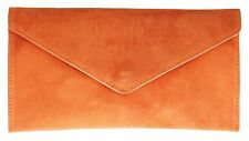 Womens Genuine Suede Envelope Leather Clutch Bag Wrist Flap Elegant Colours