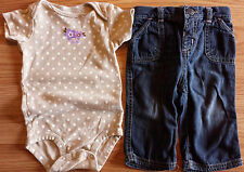 Girl's Size 9 M 6-9 Months Two Piece Brown Floral Carter's Top & Old Navy Jeans