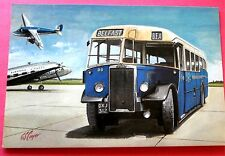 "Leyland Tiger T58 Airport Service Bus ""European Airway"" Aircraft UK NEW Postcard"