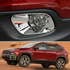 Chrome Front Fog Lamps Light Frame Cover Trim for Jeep Cherokee 2013-2016 14 15