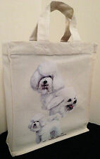 Bichon Frise Natural Cotton Small Fun Party Bag Tote with Gusset Useful Gift