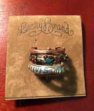NWT Lucky Brand Stackable Rings PEACE LIVES Flowers Branch Size 7