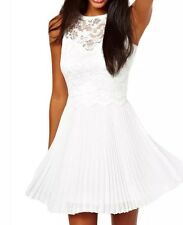 New White Skater Lace Backless Pleated Party Mini Dress Sleeveless  10-12