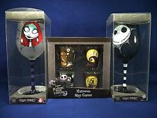 NEW Nightmare Before Christmas Lot of 3 Jack/Sally Wine Goblets & Mini Glasses