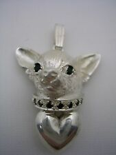 CHIHUAHUA DOG PENDANT AND HEART WITH BLACK ONYX EYES, COLLAR  IN STERLING SILVER
