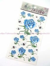 US SELLER blue rose flower temporary tattoos removable stickers fake tatoo