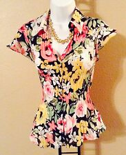 Women's Fitted Short Sleeve Floral Print Multicolor Peplum Button Up Blouse 3