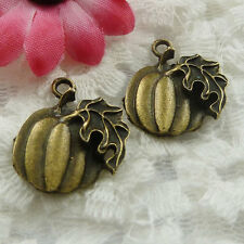 Free Ship 35 pieces bronze plated pumpkin charms 21x18mm #607