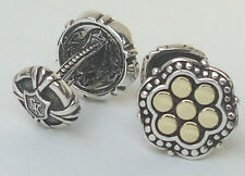NEW $400 Scott Kay Men's Cufflinks Engraved Two Tone 18K Gold Silver Dots