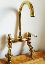 Traditional Brass Antique Gold Lever Bridge Tap Ideal For Belfast Butler Sink