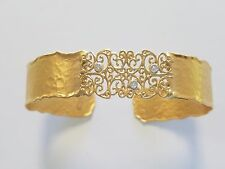 I.REISS 14K Y Gold Filigree Cuff Bracelet with Diamond Accents Matte & Hammer