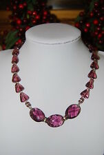 DVF DIANE VON FURSTENBERG PURPLE CRYSTAL GRIPOIX BEADS AND RHINESTONES NECKLACE