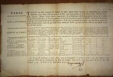 TARIF DU PRIX DU TABAC PAU 1738