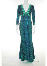 ROBERTO CAVALLI Blue Green Stretch Animal Print Long Sleeve Dress Sz IT 38