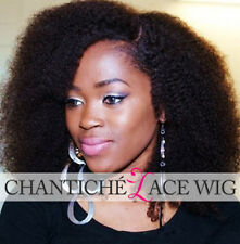 """16"""" Curly Lace Front Wigs Black Women Indian Remy Human Hair Wig Kinky Curly #1B"""