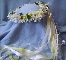 Polly Daisy Crown Silk flowers & Ivy -Wedding / Renaissance / Hand Crafted New